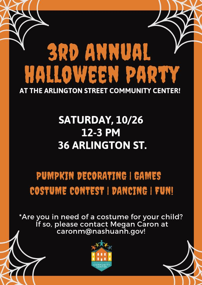 Flyer with black background, orange border, and event name/details in white and orange fonts