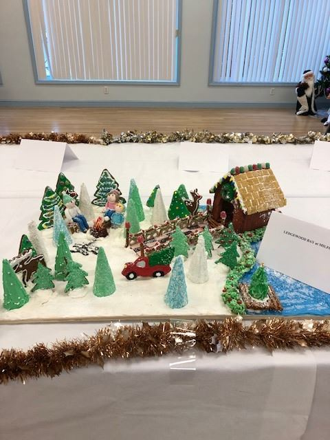 Image of large ginger bread house and snowy landscape