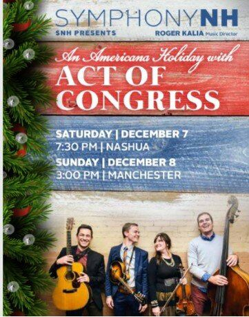 Image of flyer with event information and picture of band, background is wood with a garland on the
