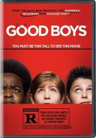Movie poster with red background, movie name in white font, and images of three boys