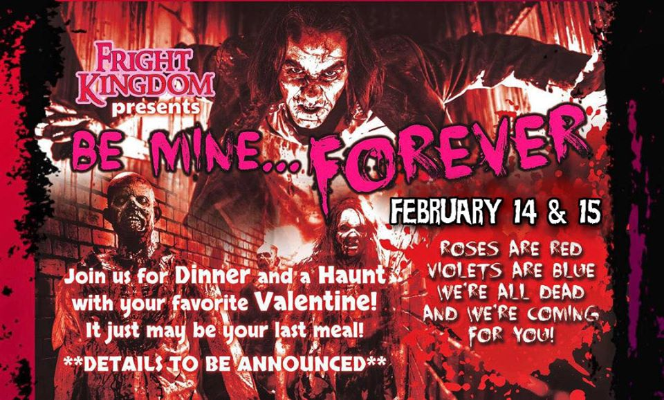 Flyer with red background, spooky monsters and event info in red and white font