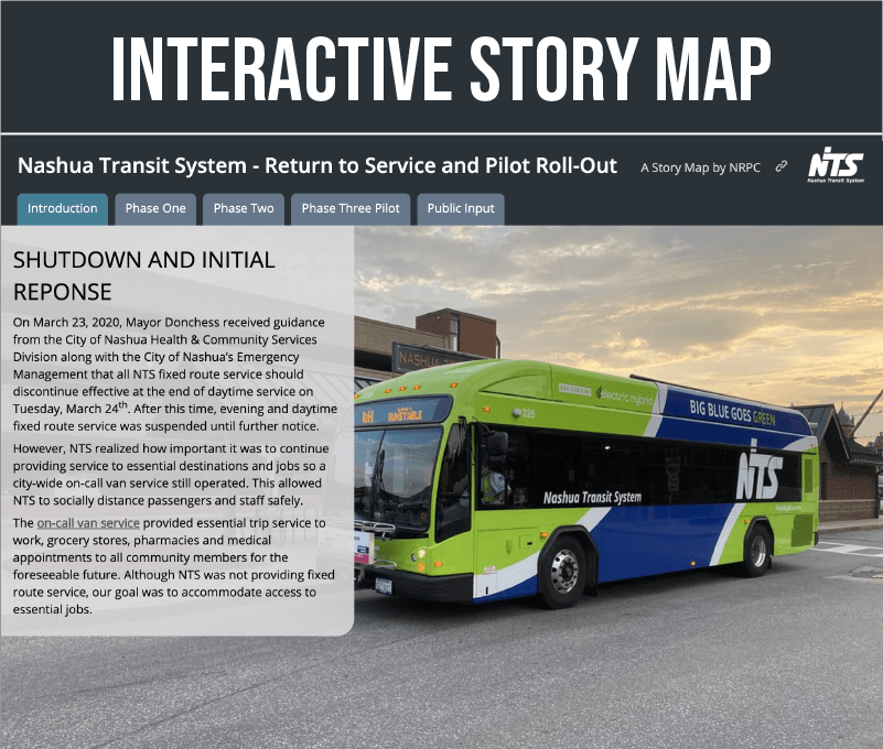 Interactive Story Map Interface takes you through each of NTS's service Phases