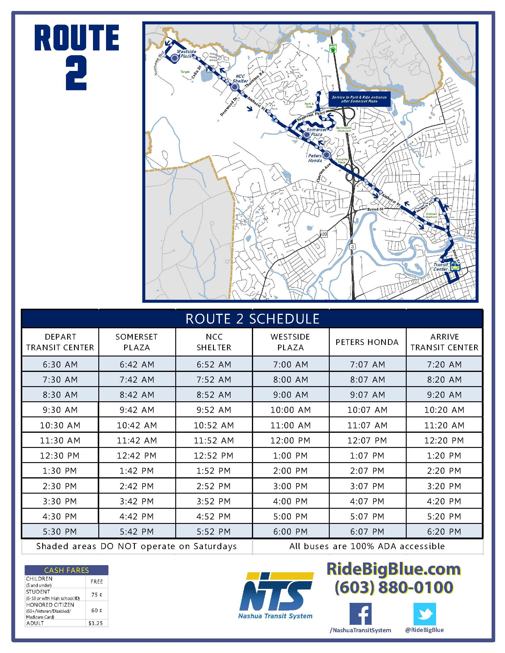 Route 2 Map & Schedule