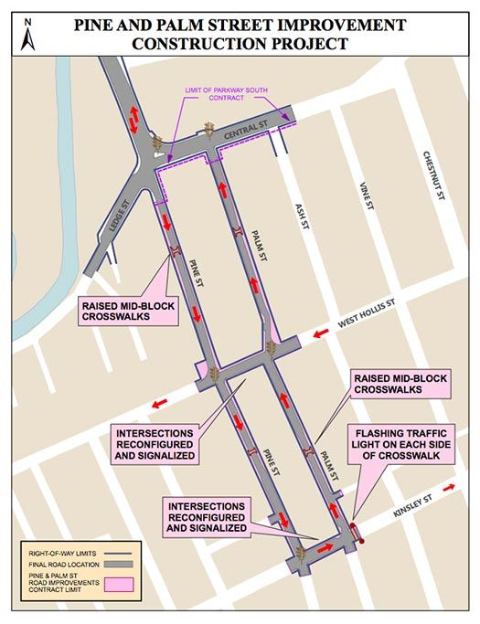 Pine Street and Palm Street Improvements Map