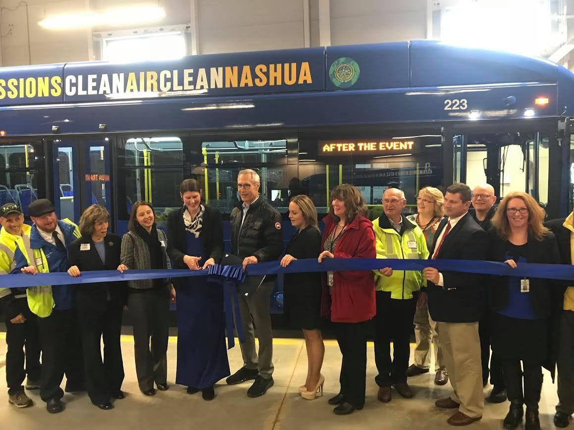 2017 - Mayor Jim Donchess and Nashua Transit System staff cut blue ribbon to welcome new CNG buses