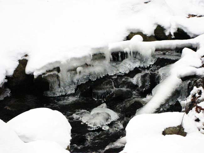 Icy stream water running over black rocks.
