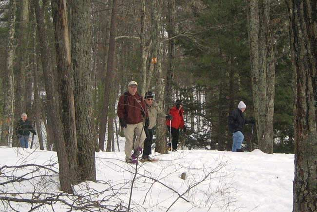 Several people hiking through trees in snowshoes.