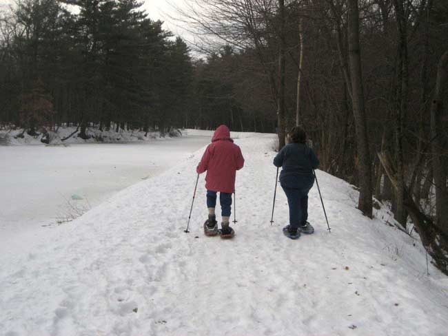 Two people in snowshoes walking side by side.